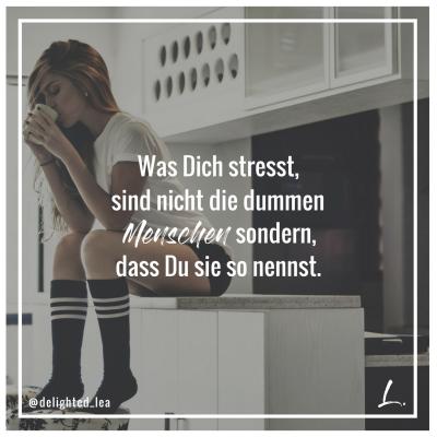 """""""Was Dich stresst, sind nicht die dummen Menschen sondern, dass Du sie so nennst."""" - Lea Ernst"""